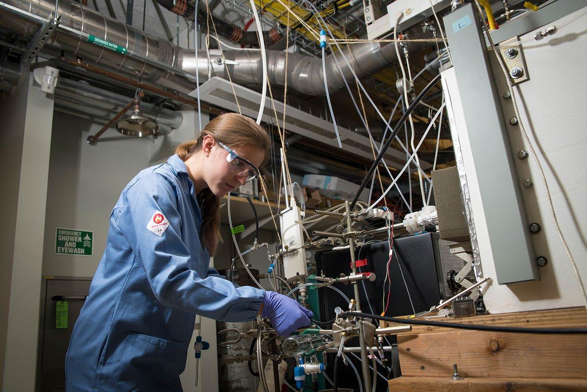 学生在实验室工作
