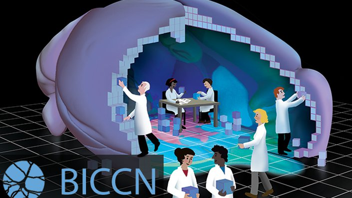 An illustration of people in lab coats working together to build a 大脑 with building blocks