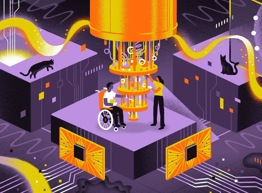 Illustration of a quantum computer with two people 下一个 to it, one in a wheelchair