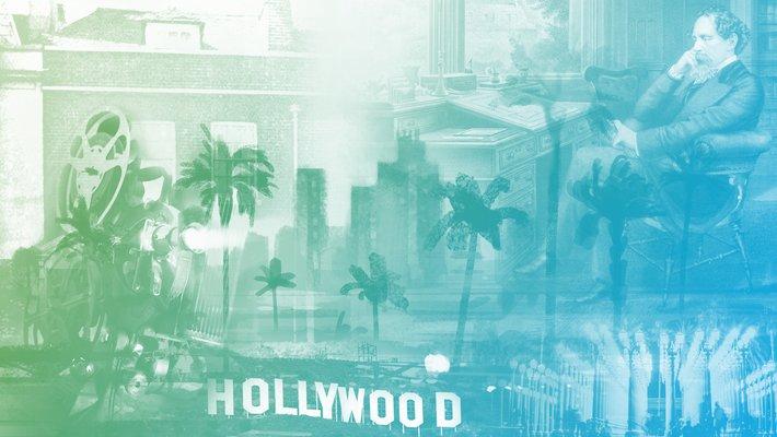 老好莱坞的拼贴画,查尔斯·狄更斯的伦敦,以及洛杉矶的艺术意象.
