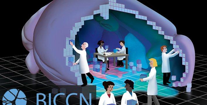 这是一幅穿着实验室大褂的人们一起用积木构建大脑的插图