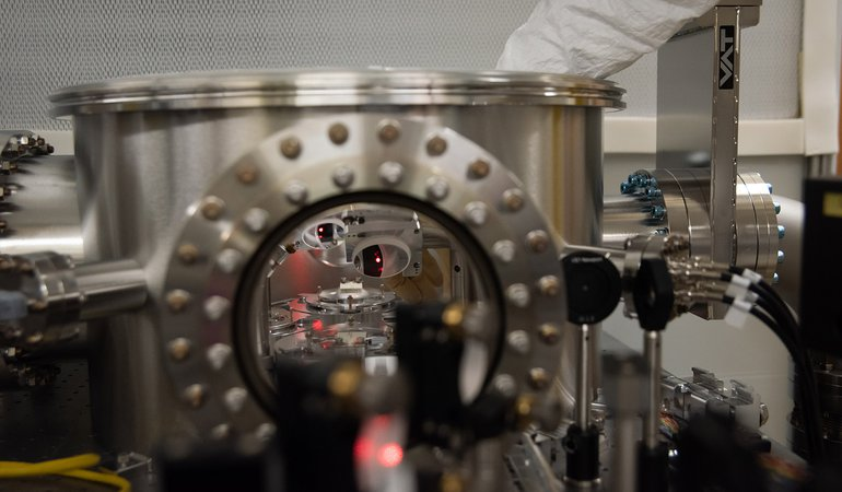 A view inside the vacuum chamber.
