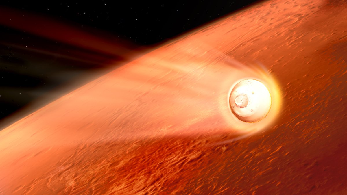 An artist's rendering of a spacecraft with hot plasma around it as it passes into the Martian atmosphere.
