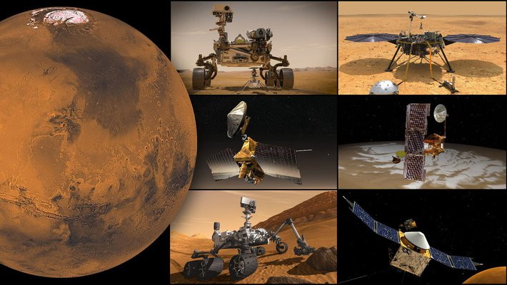 A montage of Mars missions.