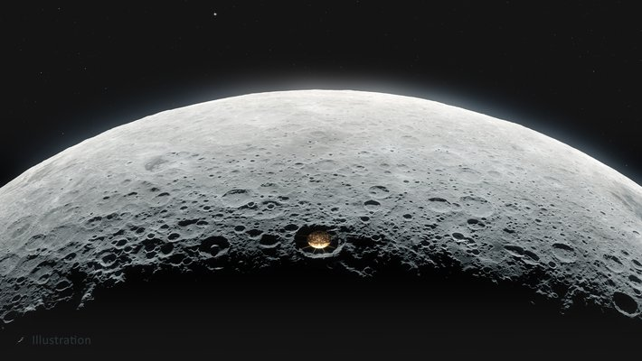 Illustration of the lunar telescope on the moon's far side.
