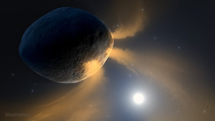 Illustration of a venting asteroid.