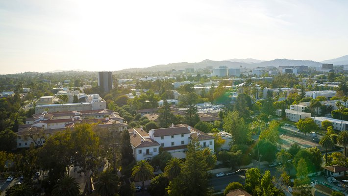 aerial view of Caltech looking northwest from the southeast corner of campus