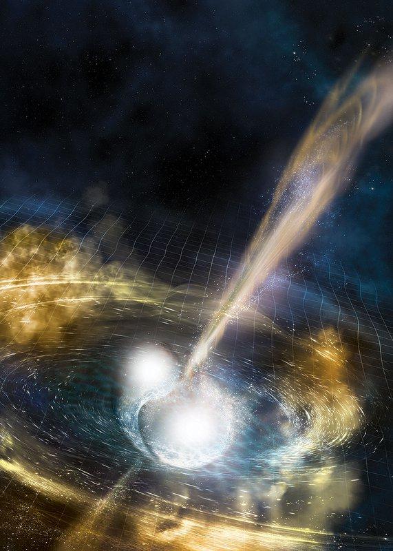 Artist's illustration of two merging neutron stars.