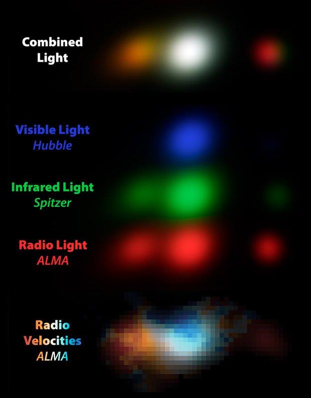 Composite image of merging galaxies as seen in multiple wavelengths.