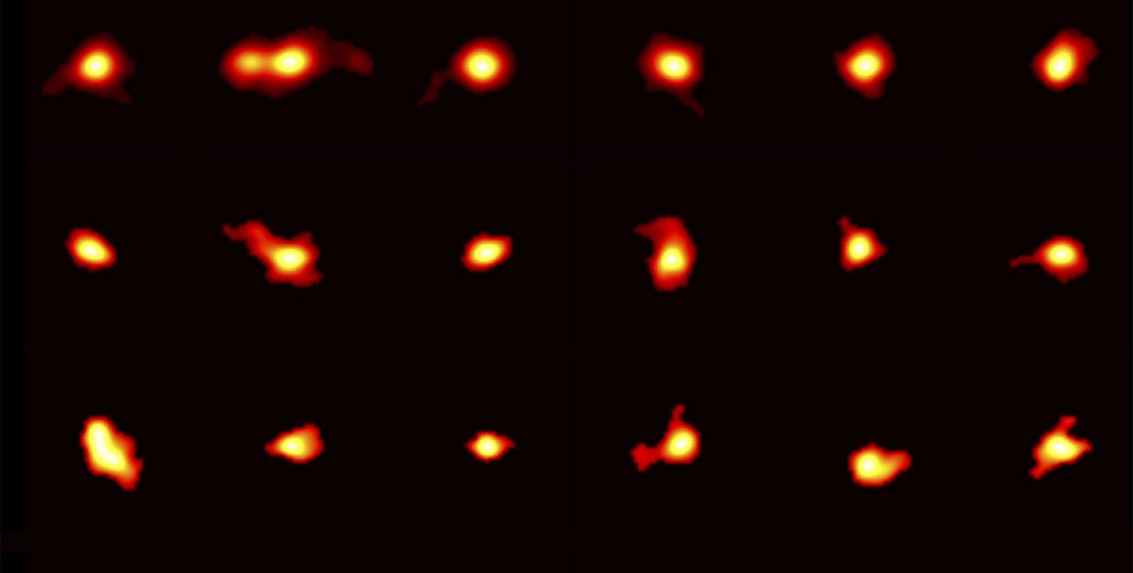 Rotating galaxies imaged by ALMA.