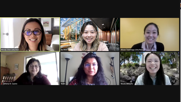 A laptop screen shows a zoom meeting gallery featuring members of the APACT leadership team. Top: Wendy Chin, Jia Shen, and Alison Tominaga. Bottom: Athena Castro, Nidhi Bansal, and Nicole Williams
