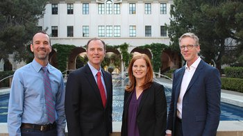 photo of Adam Schiff and panelists before town hall meeting at Caltech