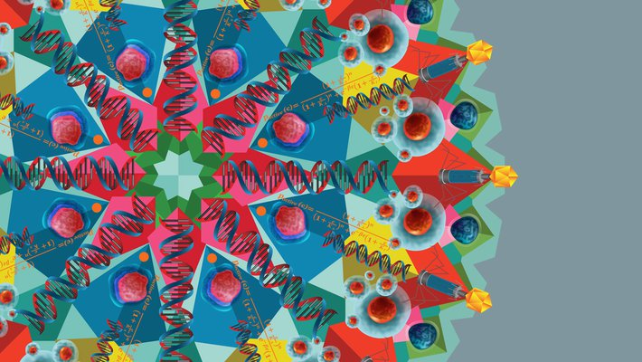 colorful digital drawing resembling a snowflake with biology and physics structures incorporated