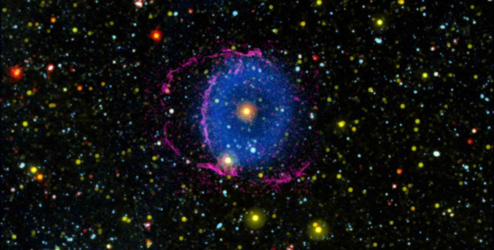 Image of the Blue Ring Nebula from GALEX and other telescopes, combined