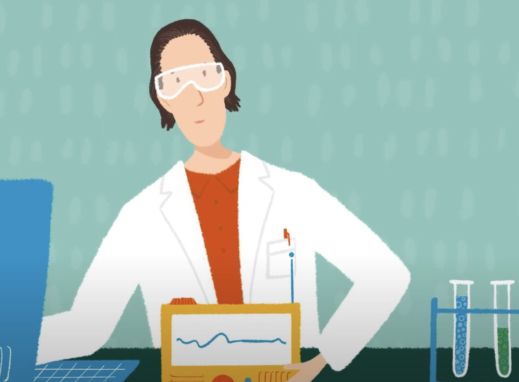 cartoon image of a scientist working at a lab bench