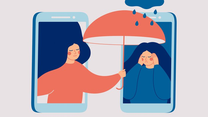 Illustration of two smartphone screens with one woman in each, woman on the left holding an umbrella over woman on the right to shield from raindrops