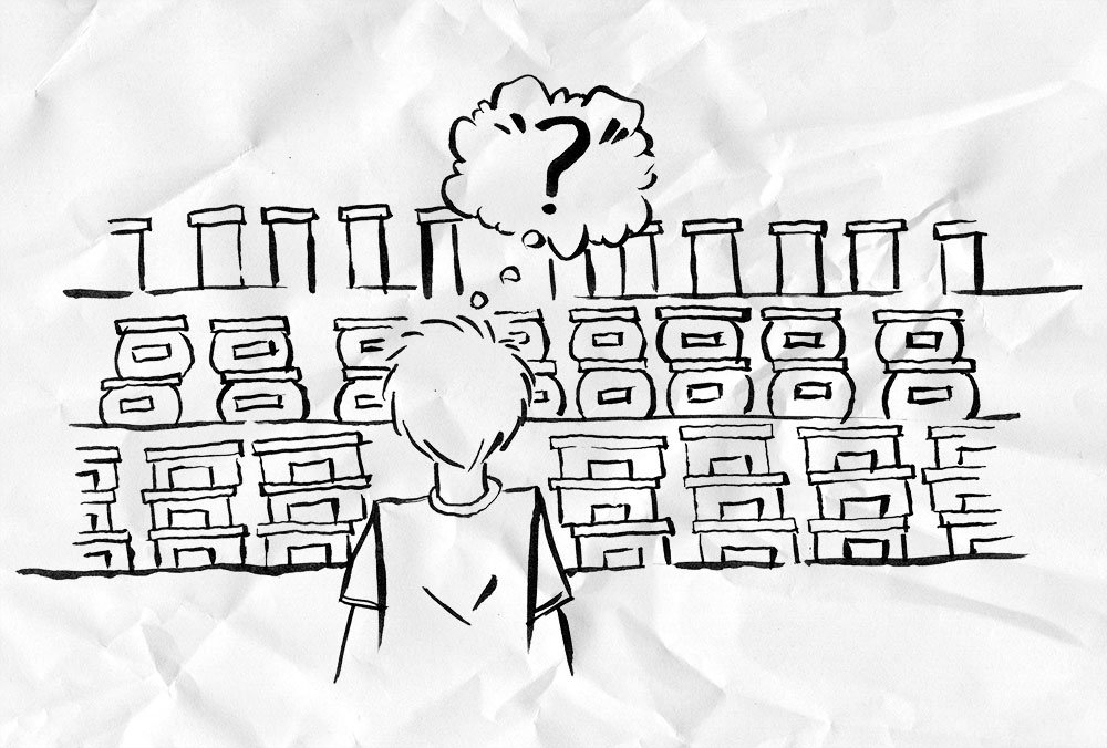 A cartoon sketch of a man standing confused in front of shelves with many items.