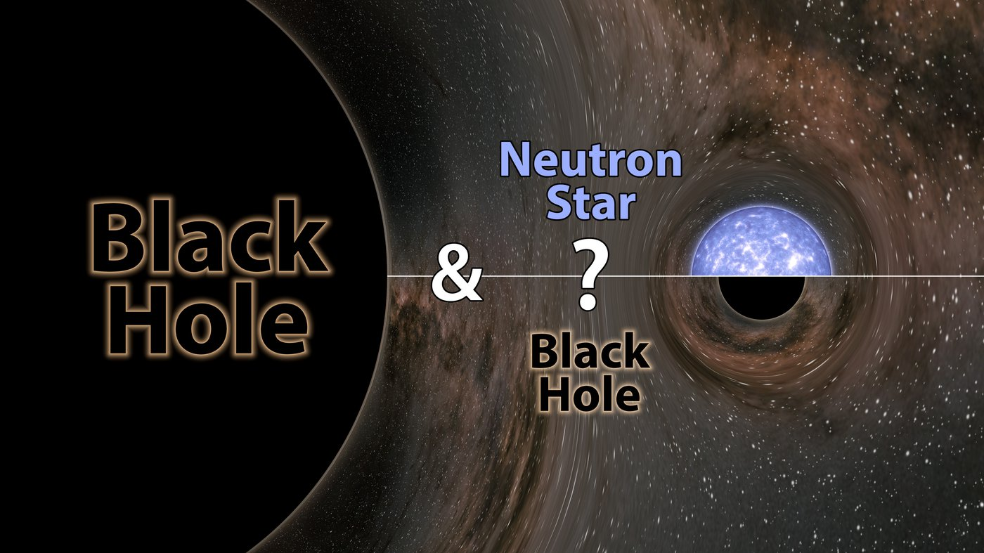 Artwork of a black hole merging with a black hole or neutron star.