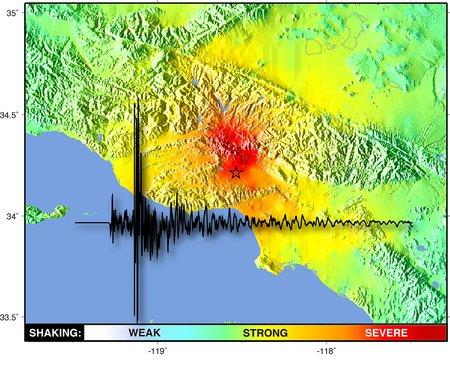 seismograph image on map