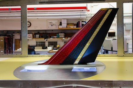airplane tail in wind tunnel