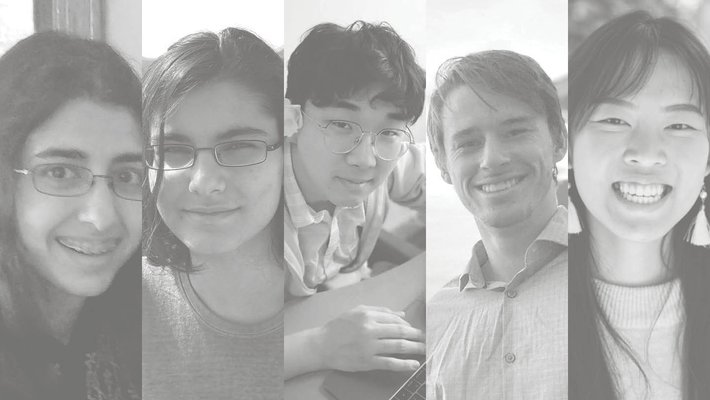 Collage of five students in black and white