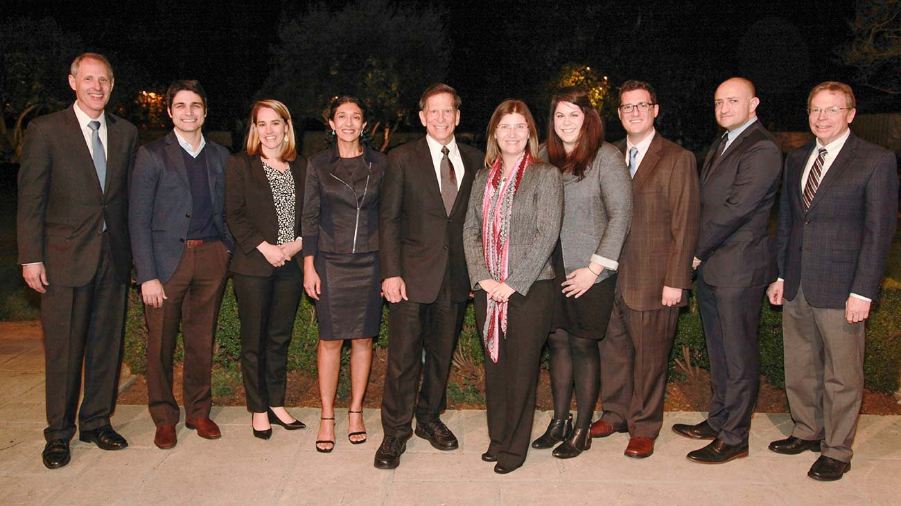 Caltech President, Provost, and HMRI investigators are pictured with Richard Merkin.