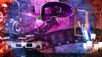 A colorful collage consisting of imagery of neon signs, art, and 3D glasses
