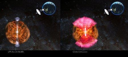 Artwork of jet versus cocoon model.