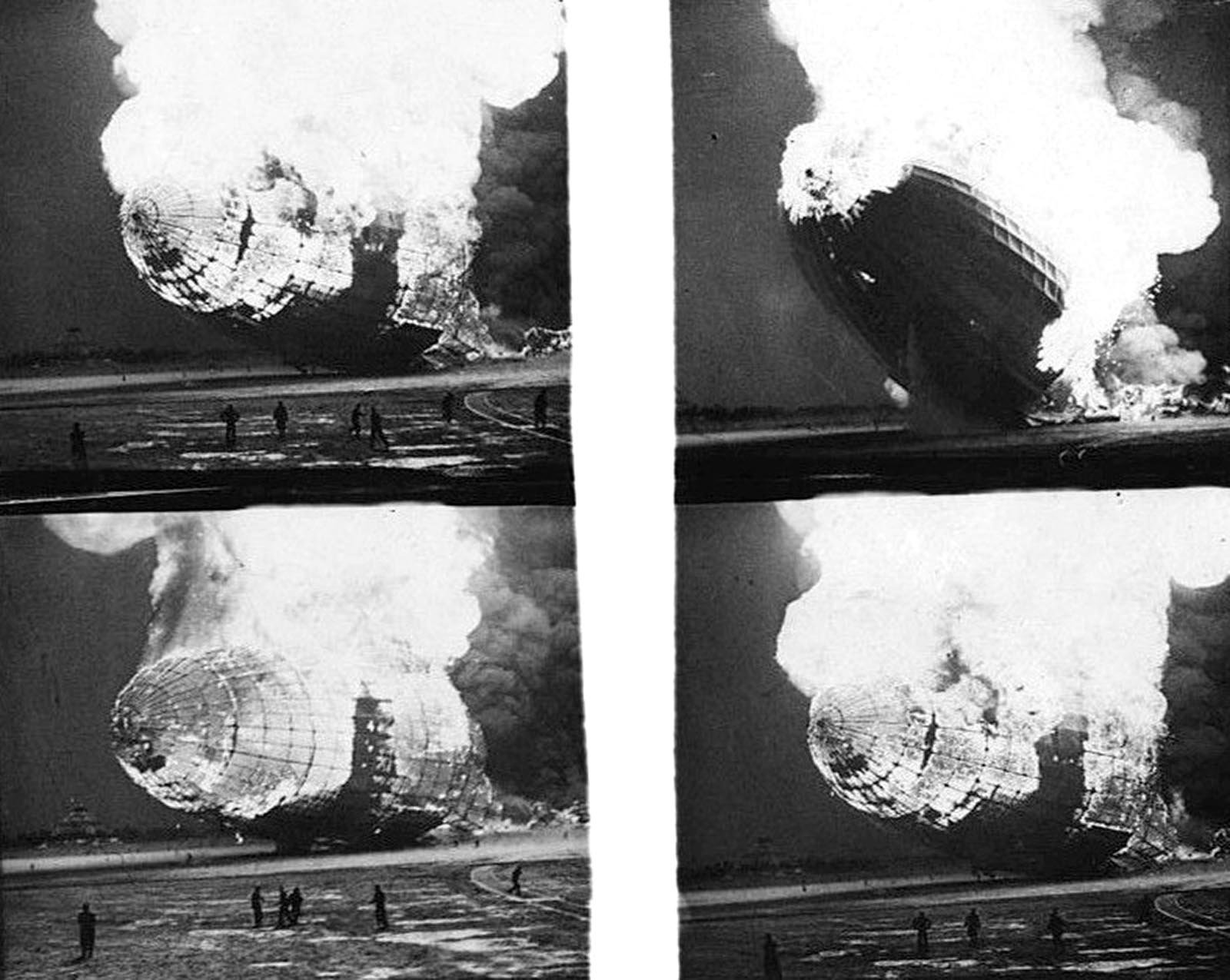 Four black-and-white images of the flames advancing as they consumed the Hindenburg.