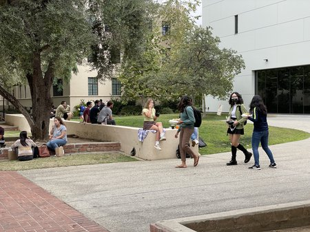 Students gather on campus as the new academic year begins.
