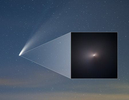 Hubble image of Comet Neowise embedded in sky image