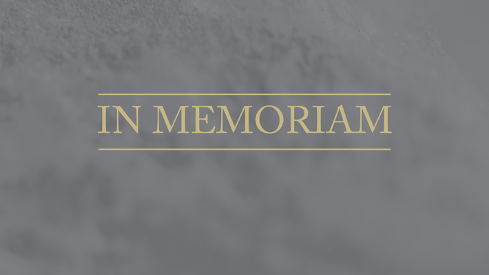 "image of the words ""In Memoriam"" on a gray background"