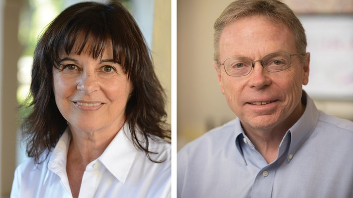 Side-by-side portraits of Jacqueline Barton and David Tirrel