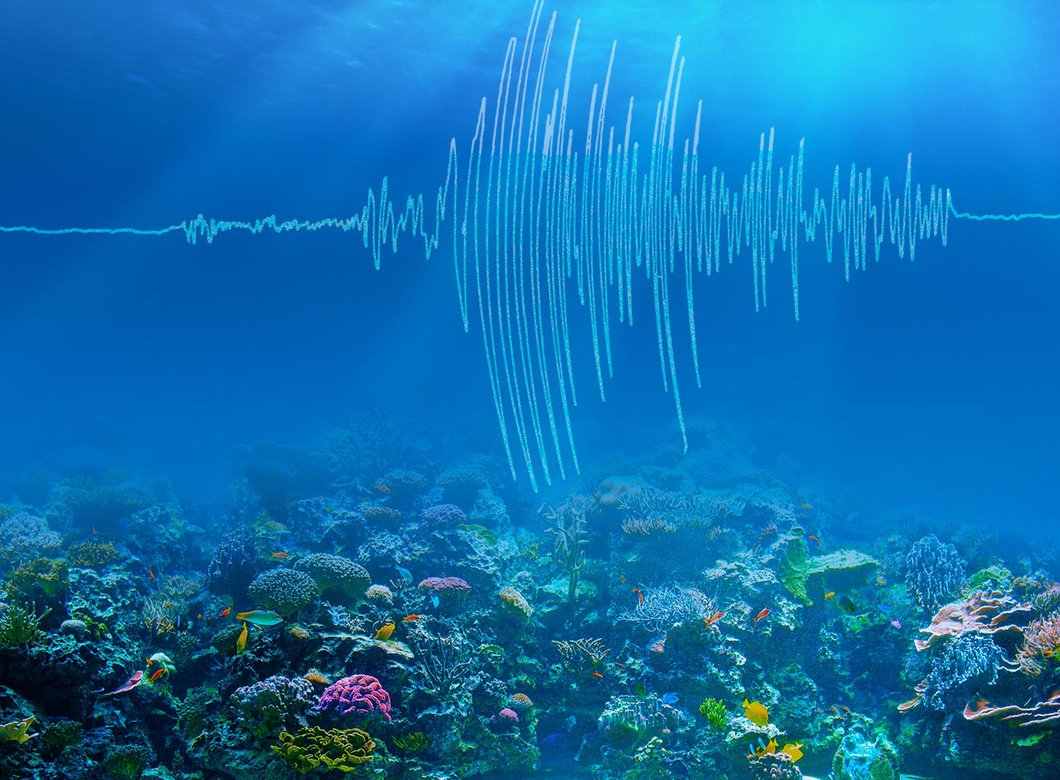 An artist's rendering of earthquake waves traveling through the ocean.