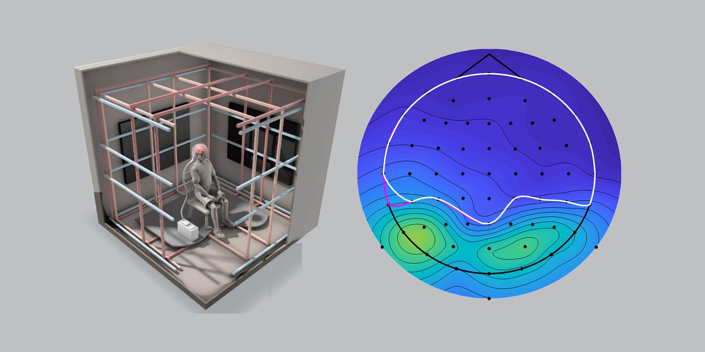 Schematic drawing of magnetoreception test chamber, next to brainwave data