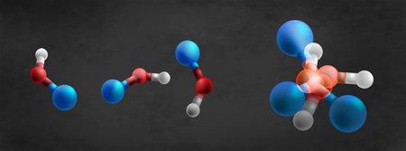 Illustration of molecules in superposition