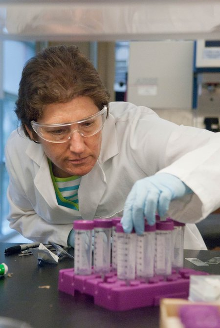 Professor Julia Kornfield examines laboratory equipment.