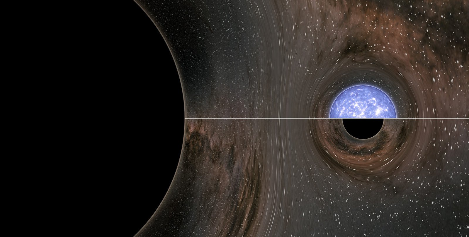 Artwork showing a black hole merging with a black hole or neutron star.