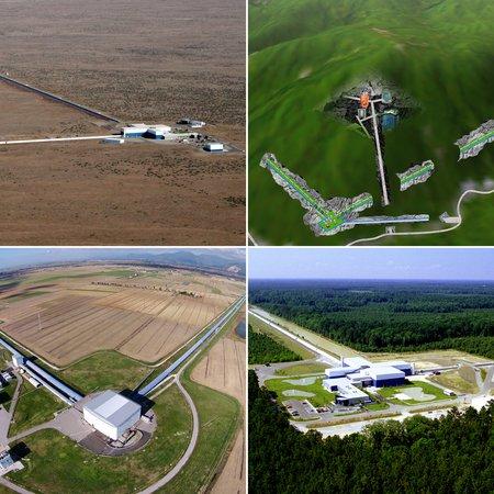Photos of KAGRA, LIGO, and Virgo.