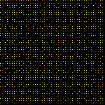 A grid of colored squares on a black background.