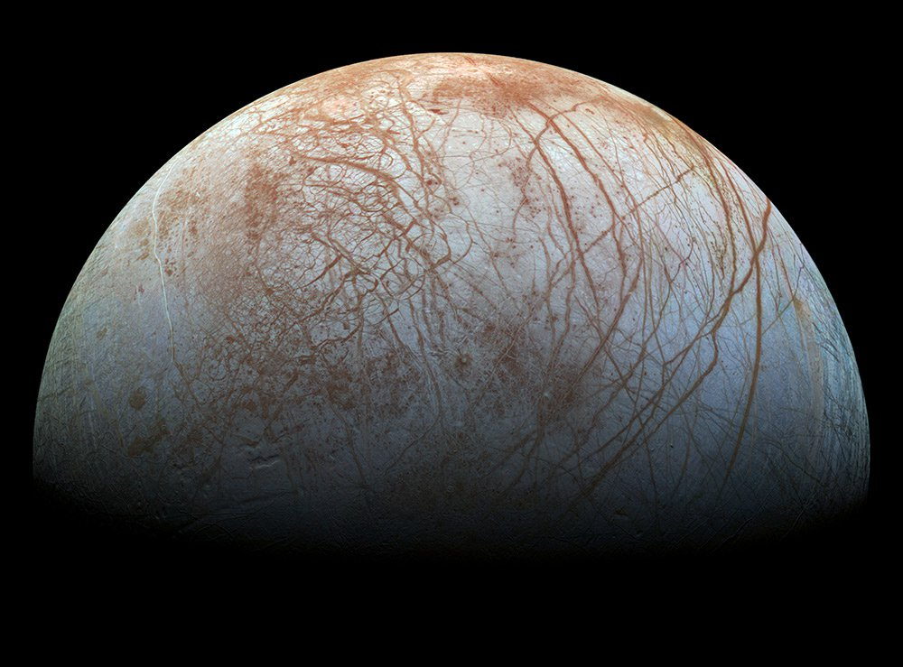 Europa, as imaged by NASA's Galileo spacecraft.