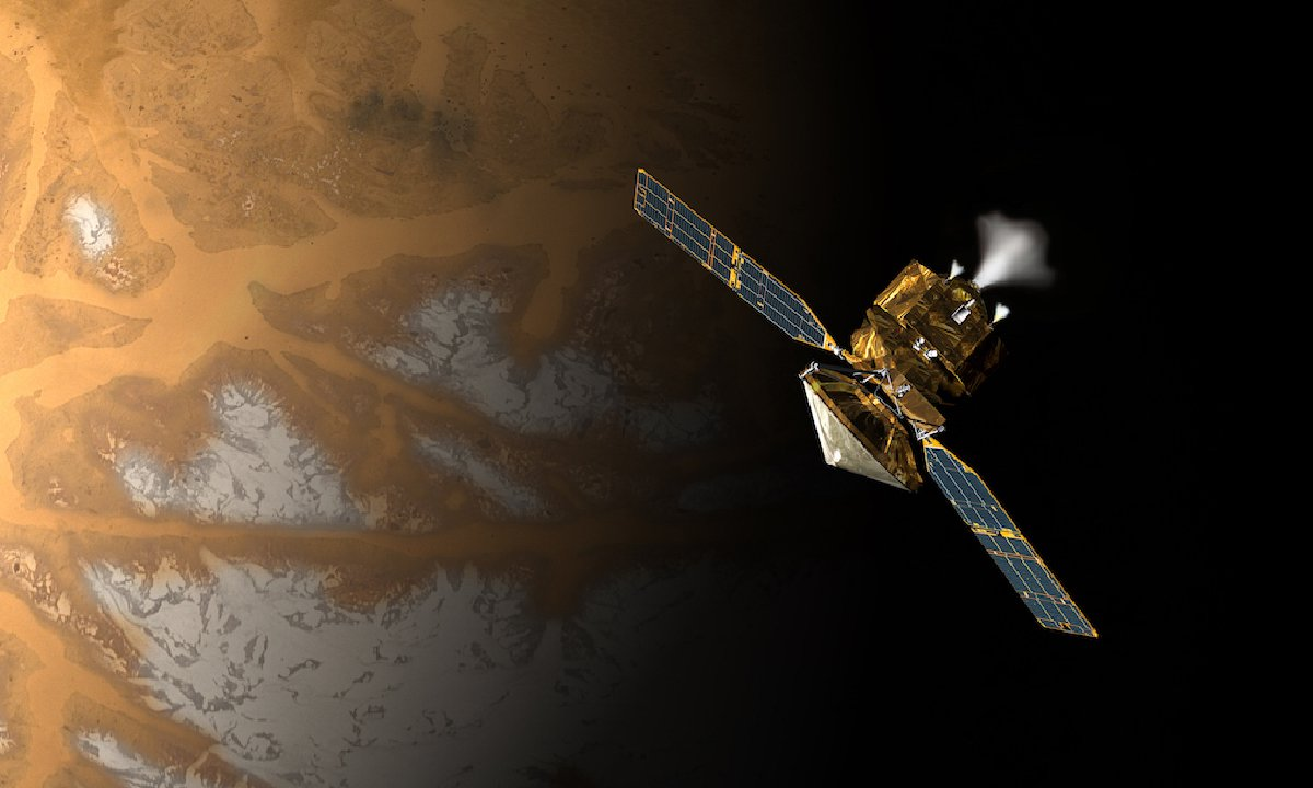 An artist's rendering of a satellite above the surface of Mars. Some of the planet's surface is covered in ice.