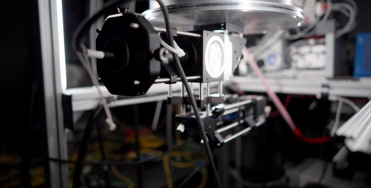 close up of focusing laser system
