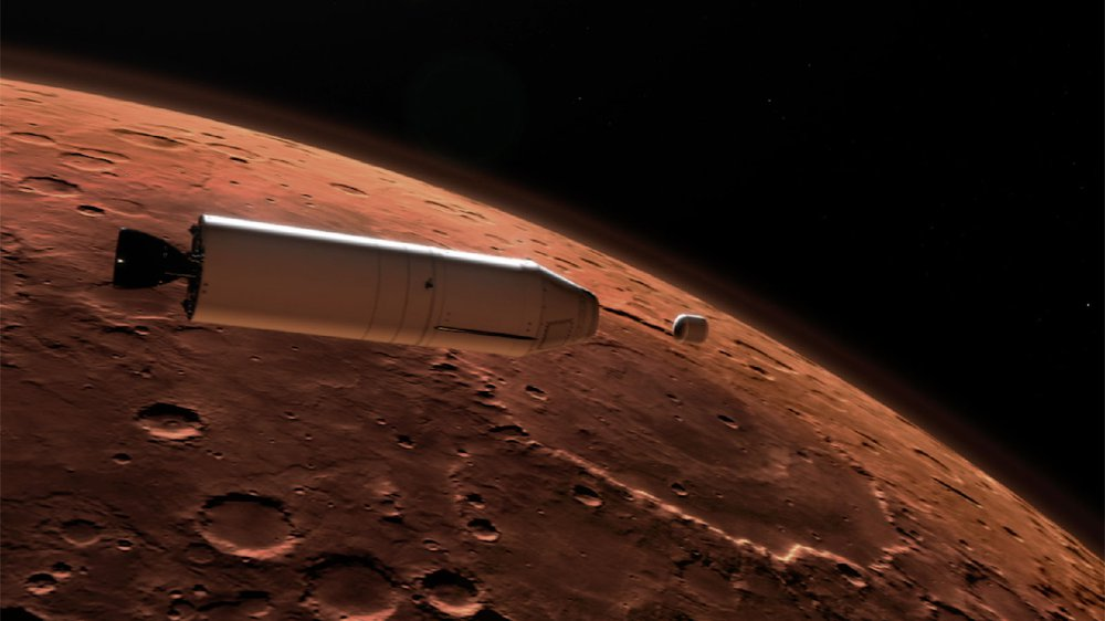 An artist's rendering of a rocket releasing a container of samples from the surface of Mars into orbit around the planet.