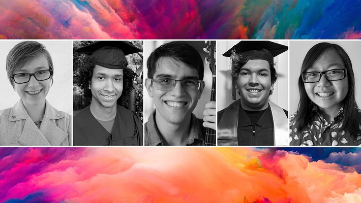 A composite image showing black-and-white portraits of the five graduating Mellon Mays Fellow. In the background is an abstract colorful texture.
