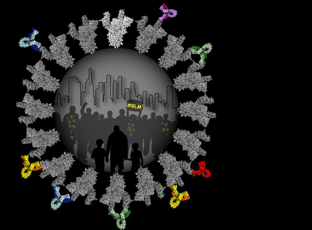 Illustration of protest marchers encircled by an illustration of coronavirus spikes
