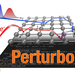 An artist's rendering of the Perturbo logo with an atomic lattice and computer code in the background.