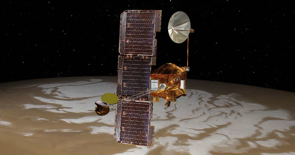 A satellite-like spacecraft appears above the icy surface of Mars.
