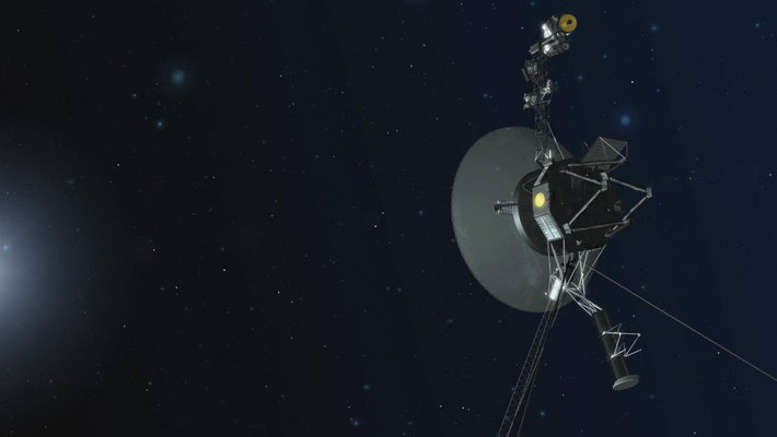 An illustration depicting one of NASA's twin Voyager spacecraft.