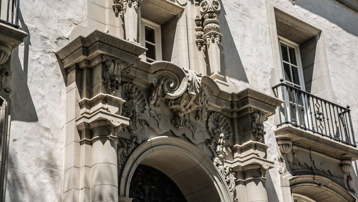 detail of the facade of Caltech's Parsons-Gates Hall of Administration